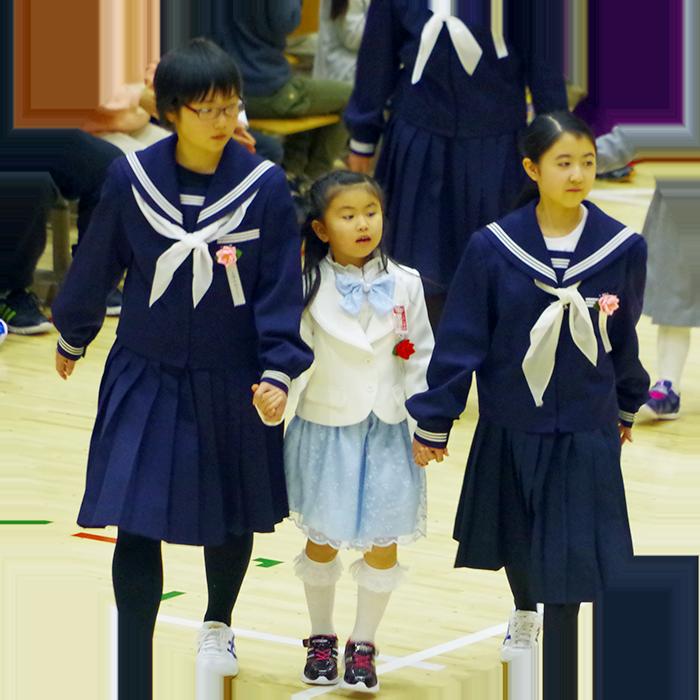 1年生と7年生合同入学式